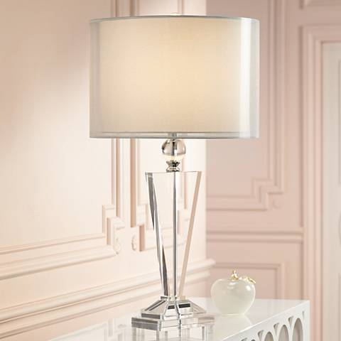 Double Sheer Silver Crystal Trophy Table Lamp