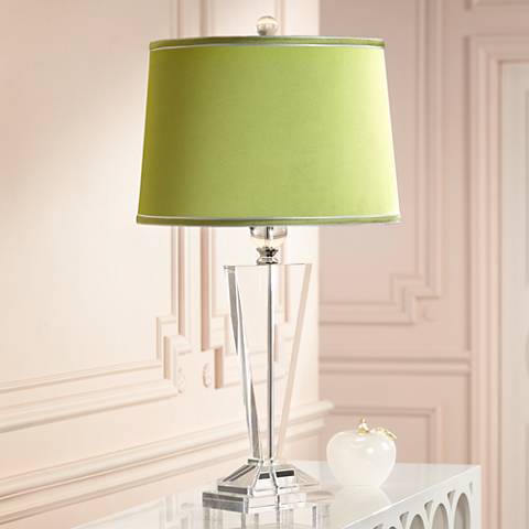 Satin Olive Green Crystal Trophy Table Lamp