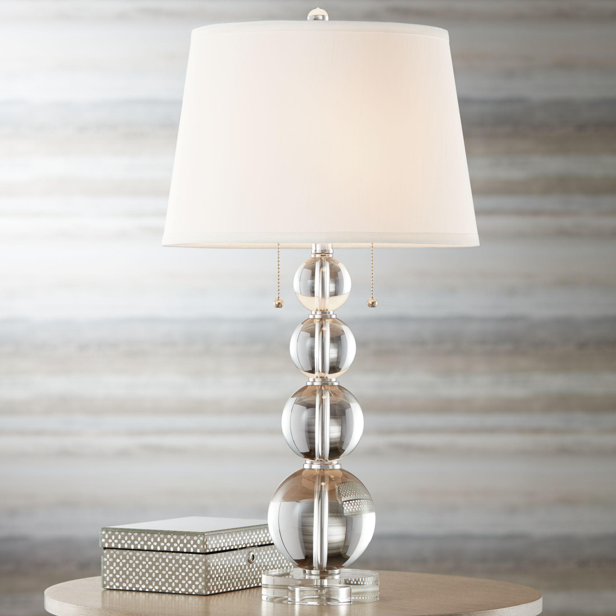 Delightful Vienna Full Spectrum Stacked Crystal Spheres Table Lamp