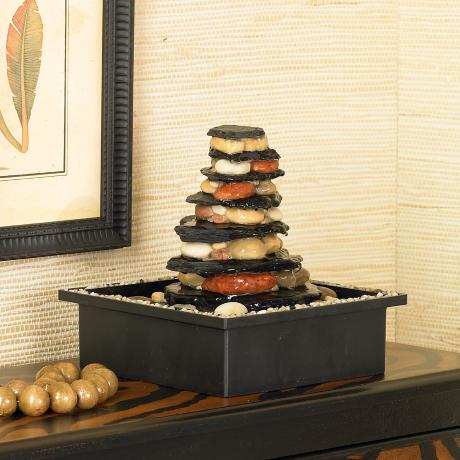 Stacked Stones and Pebbles Table Fountain