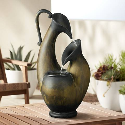"Weathered Jug 24"" High Tabletop Fountain"
