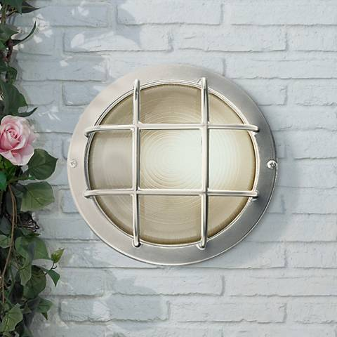 "Bulkhead 10"" Wide Satin Steel Round Outdoor Wall Light"