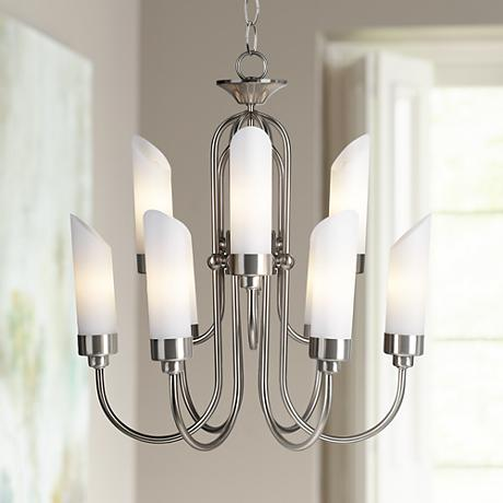 possini euro design brushed steel and opal glass chandelier 61864. Black Bedroom Furniture Sets. Home Design Ideas