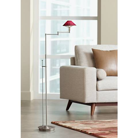 Holtkoetter Magna Red and Nickel Swing Arm Floor Lamp