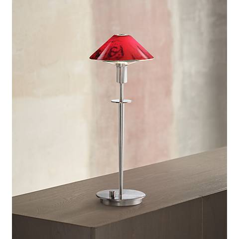 Holtkoetter Satin Nickel and Magma Red Glass Accent Lamp