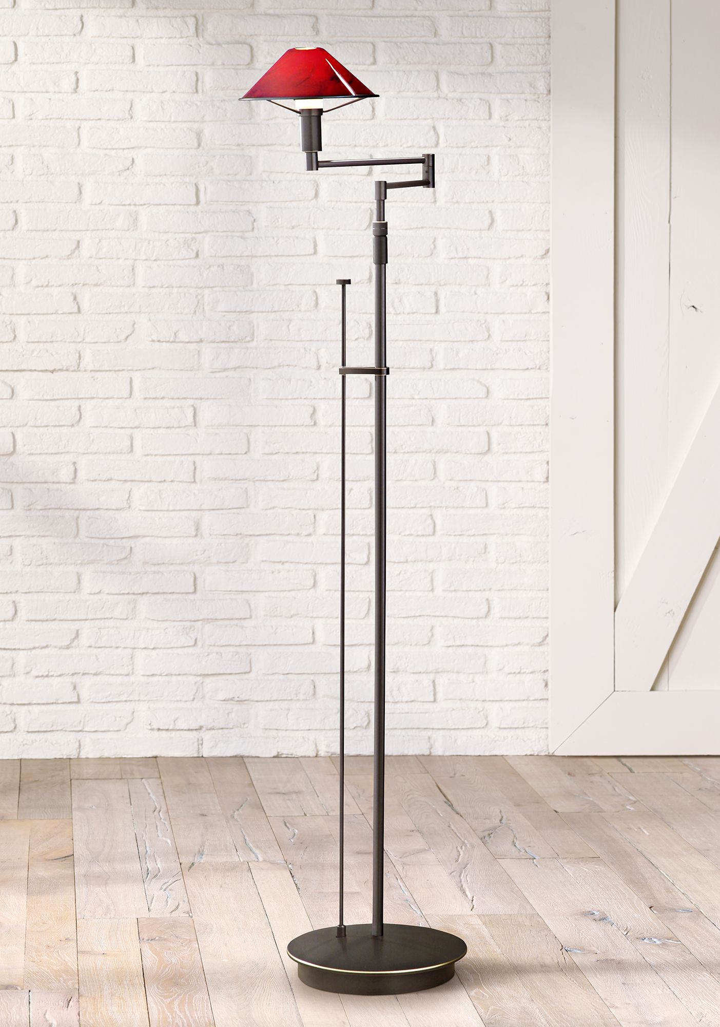 High Quality Holtkoetter Magna Red And Bronze Swing Arm Floor Lamp