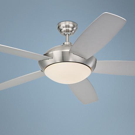 "52"" Monte Carlo Sleek Brushed Steel Ceiling Fan with Light"