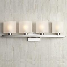 Possini Euro White Linen Glass 32 W Bathroom Light Fixture