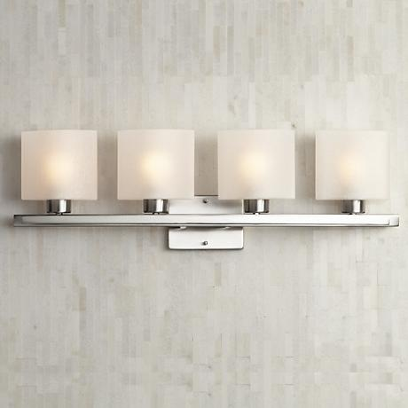 Possini Euro White Linen Glass 32 W Bathroom Light Fixture 64141 Lamps Plus