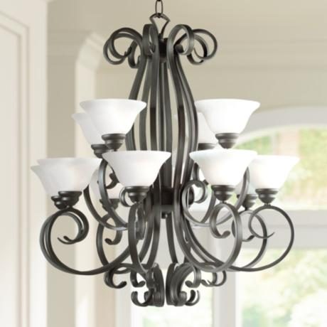 "Manchester Collection Iron 32"" Wide Chandelier"