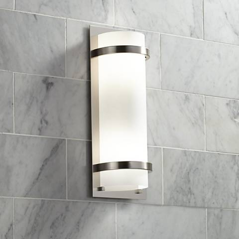 "Brushed Nickel And Etched Opal 17 1/4"" High Wall Sconce"