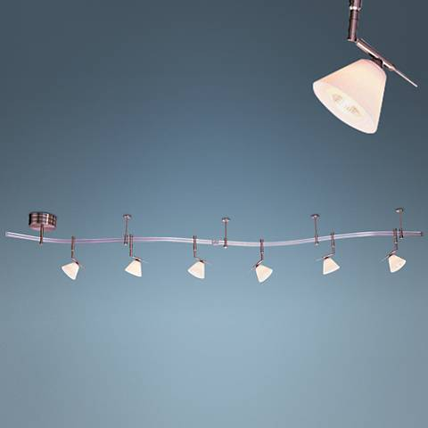 Etched Opal Glass 6-Light Expandable Rail Track Lighting Kit
