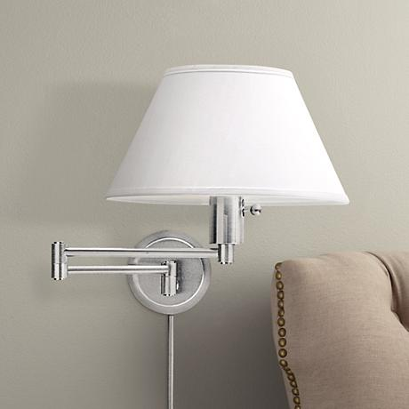 round backplate plug in swing arm wall lamp 65472 lamps plus. Black Bedroom Furniture Sets. Home Design Ideas