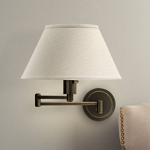 Rubbed Bronze With Ivory Shade Plug-In Swing Arm Wall Lamp
