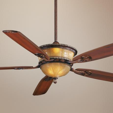 "60"" Santa Lucia Cognac Fluted Glass Ceiling Fan"