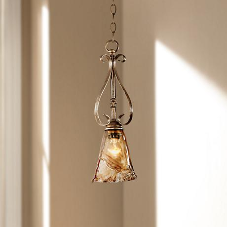 "Franklin Iron Works™ Amber Scroll 6"" Wide Mini Pendant"