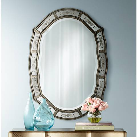 "Uttermost Fifi Etched 34"" High Wall Mirror"