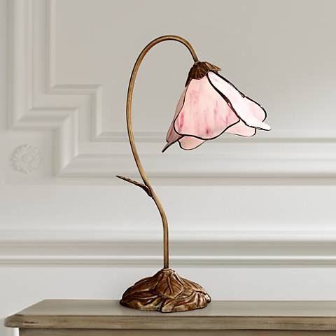 Dale Tiffany Pink Petal Downbridge Desk Lamp - #68278 Lamps Plus