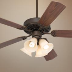 "52"" White Knight™ Bronze Ceiling Fan with Light Kit"