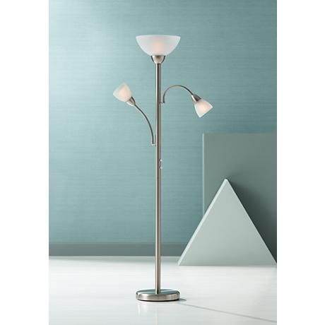 Brushed Steel Gooseneck Torchiere Floor Lamp