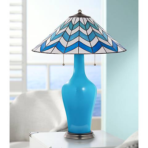 Clara Table Lamp in River Blue with Cascade Shade