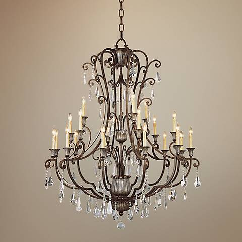 "Bonne 52"" Wide Antique Bronze Metal 21-Light Chandelier"