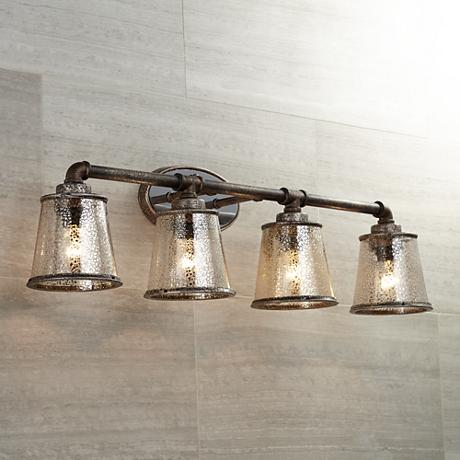 Fillmore 31 3 4 wide industrial rust bathroom light for 3 light bathroom light