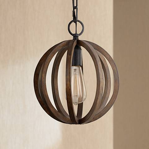 "Feiss Allier 10"" Wide Weathered Oak Wood Mini Pendant Light"
