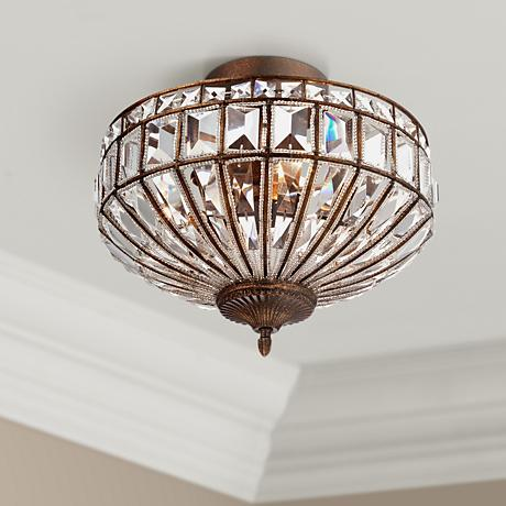 "Ibeza 15"" Wide 3-Light Crystal Mocha Ceiling Fixture"