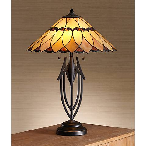 Robert Louis Tiffany Shiloh Scallop Art Glass Table Lamp
