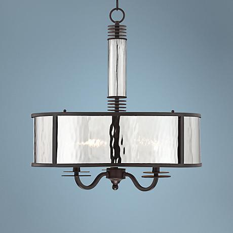"Latimer Smoke Glass 3-Light 21"" Wide Bronze Pendant Light"