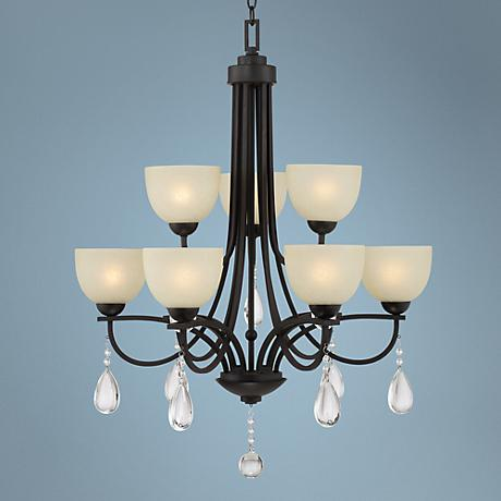 Bennington Crystal 9-Light Bronze Two-Tier Chandelier