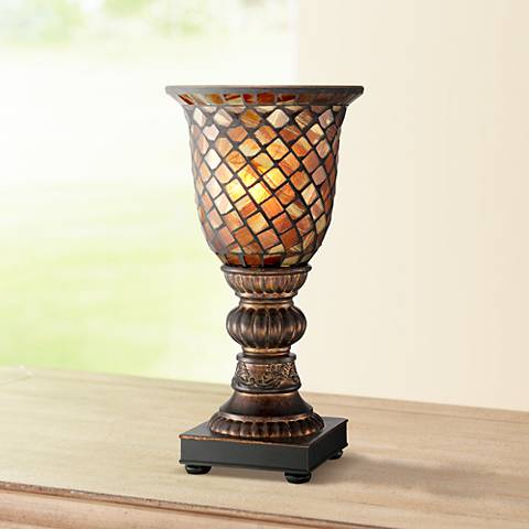 "Mosaic Brown Glass 12"" High Uplight Accent Lamp"