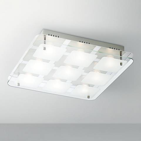 "Elin Chrome 15"" Square Frosted Glass LED Ceiling Light"
