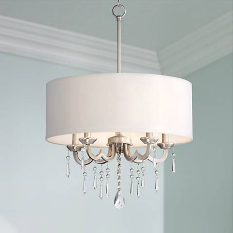 "Georgiana 20"" Wide White Shade Chandelier"