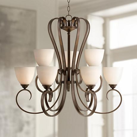 "Joffre 33"" Wide Bronze Chandelier"