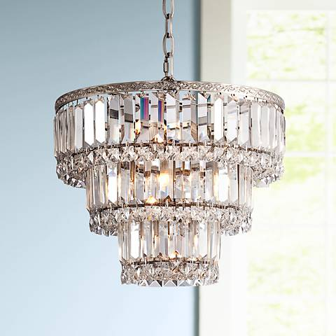 "Magnificence Satin Nickel 14 1/4"" Wide Crystal Chandelier"