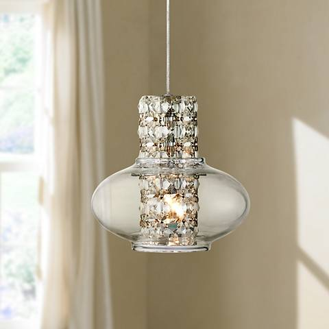 "Possini Euro Vidrio 5 1/2"" Wide Modern Crystal Mini Pendant"