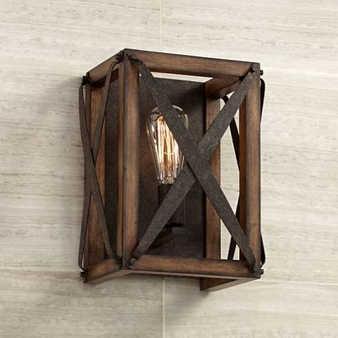 "Oaklyn 12 1/2"" High Rust Industrial Wall Sconce"