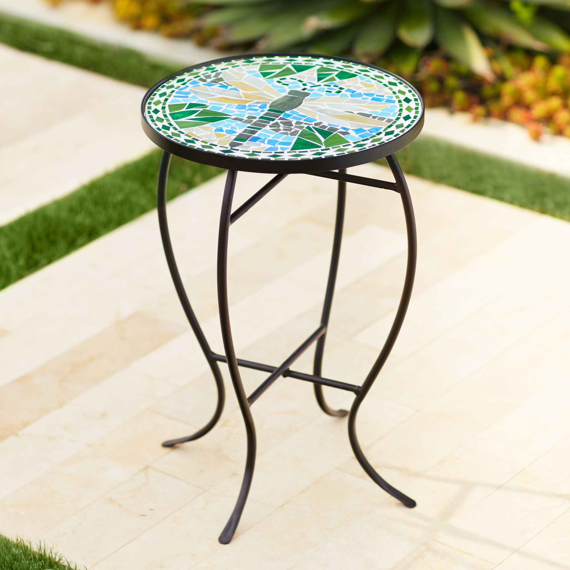 dragonfly mosaic black iron outdoor accent table - Outdoor Accent Tables