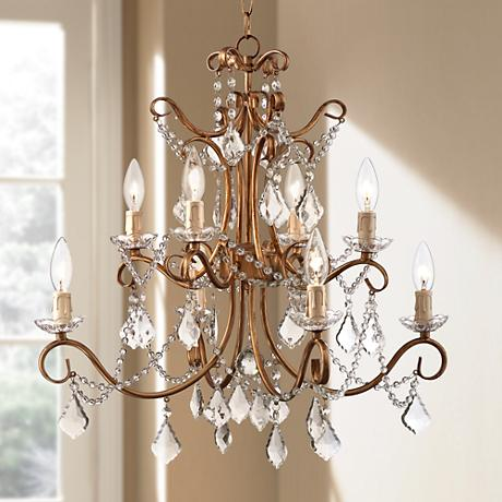 "Senita Gold 23 1/2"" Wide 8-Light Swag Plug-in Chandelier"
