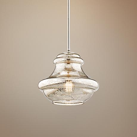 "Kichler Everly 12"" Wide Brushed Nickel Pendant Light"