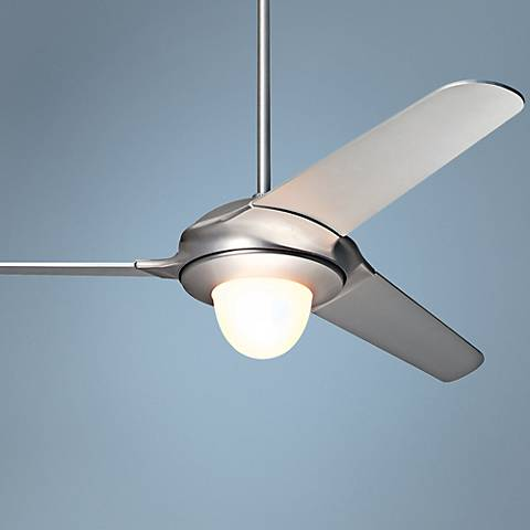"52"" Modern Fan Flow Matte Nickel Lighted Ceiling Fan"