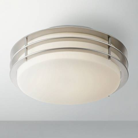 "Possini Euro Alton 11"" Wide Brushed Nickel LED Ceiling Light"