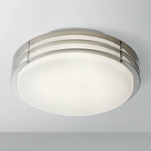 "Possini Euro Alton 13"" Wide Brushed Nickel LED Ceiling Light"