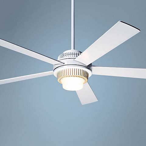"52"" Modern Fan Solus Gloss White Lighted Ceiling Fan"