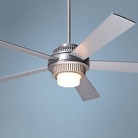 "52"" Modern Fan Solus Brushed Aluminum Lighted Ceiling Fan"