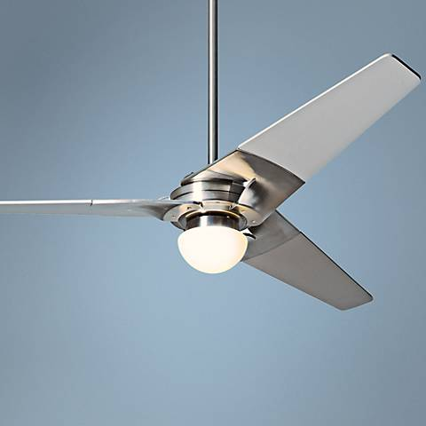 "52"" Modern Fan Torsion Bright Nickel Lighted Ceiling Fan"