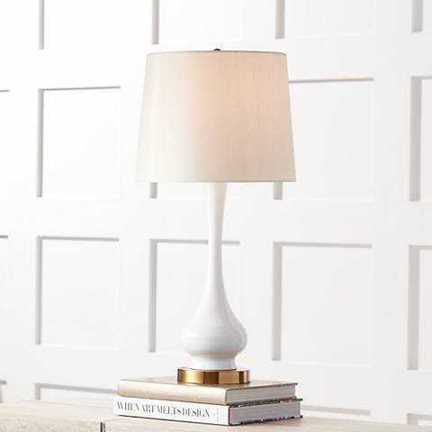 Lula White and Brass Gourd Table Lamp