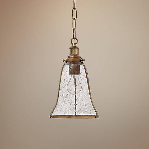 "Hinkley Marlowe 8"" Wide Heritage Brass Mini Pendant Light"